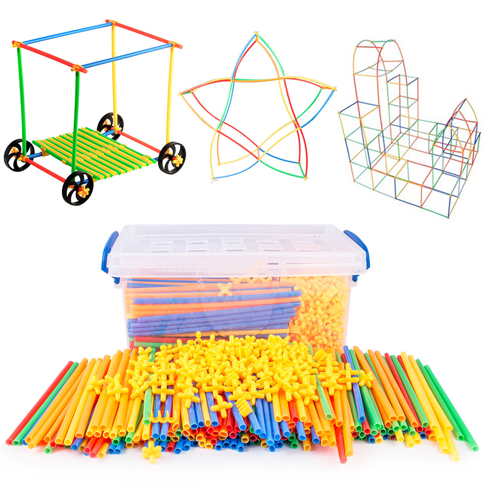 4d diy palha blocos de construção plástico costura inserida construção montado blocos tijolos brinquedos educativos para o presente das crianças