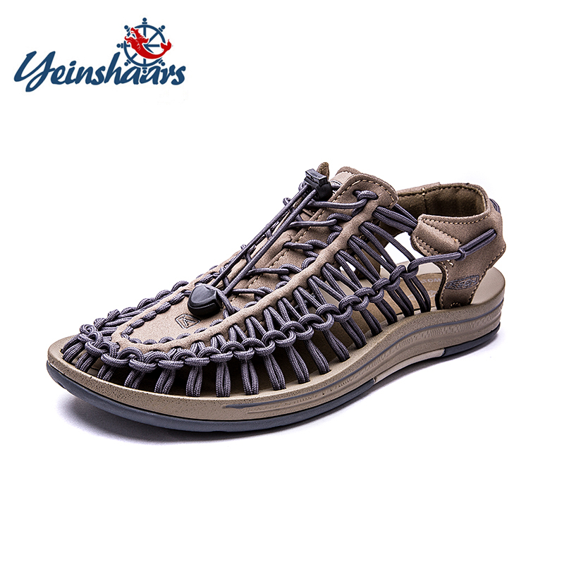YEINSHAARS 2019 Summer Sandals Men Shoes Woven Breathable Fashion Design Casual Big Size 38-46