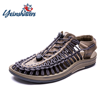 цена на YEINSHAARS 2019 Summer Sandals Men Shoes Woven Breathable Men Sandals Fashion Design Casual Men Sandals Shoes Big Size 38-46