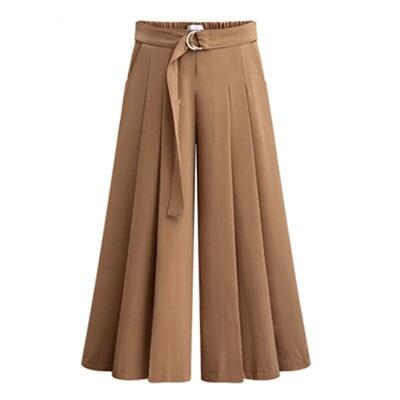 Новое поступление летние европейские Стильные повседневные свободные женские широкие брюки размера плюс женские брюки стрейч - Цвет: Brown