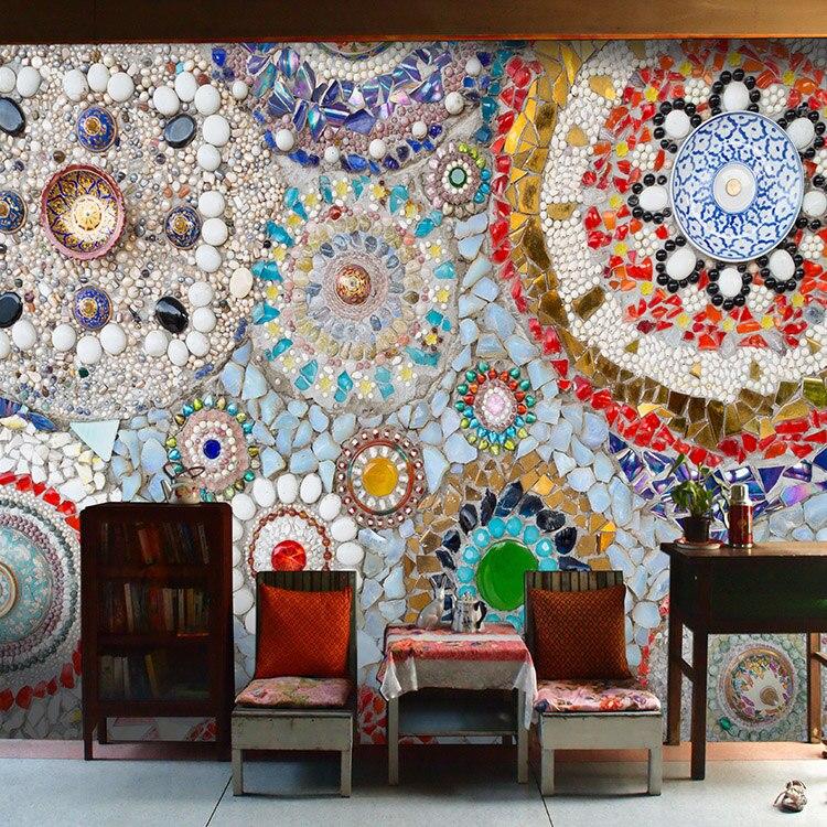 US $15.5 50% di SCONTO|3D Piastrelle Colorate Murale, Thai Cucina  Ristorante Vintage Nazionale Murale di Arte Modello Bar Caffè Spuntino  Carta Da ...