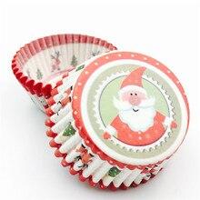 Lote de 100 unidades de vasos de Papá Noel para hornear magdalenas, forros para magdalenas, bandeja de papel para pastel, molde, herramientas de decoración de pasteles