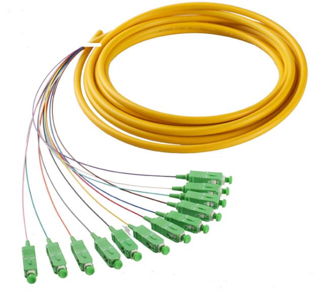 SCAPC 12 núcleo de fibra óptica fanout Coleta SM simplex 12 core 1.5 M de fibra Óptica de la coleta/bunchy pigtail cable 12 núcleo de color