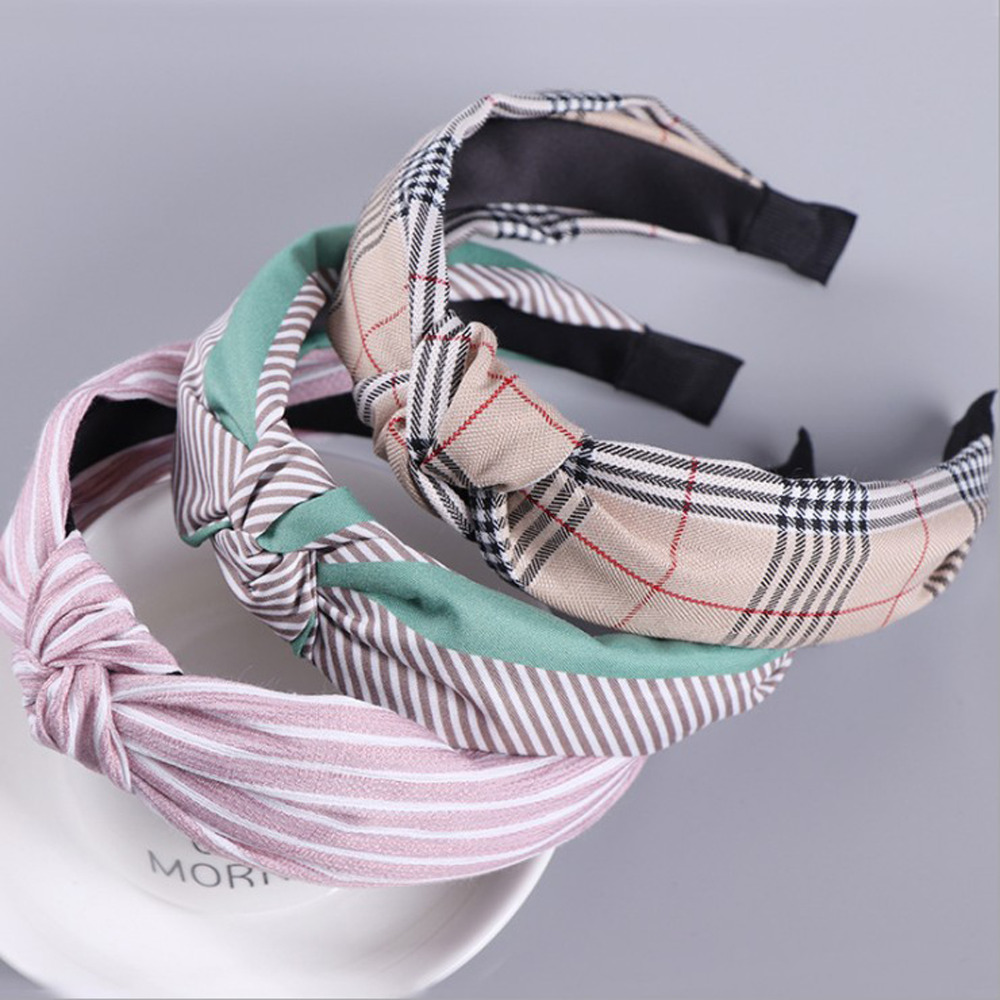 2019 New Bohemia Hair Accessories Kontted Plaid Hairband Headband For Women Autumn Winter Headwear Elastic Hair Band Wholesale