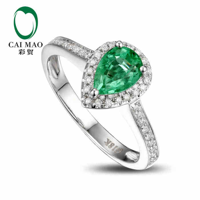 CaiMao 1.0 ct Natural Emerald 18KT/750 White Gold 0.21 ct Round Cut Diamond Engagement Ring Jewelry Gemstone colombian