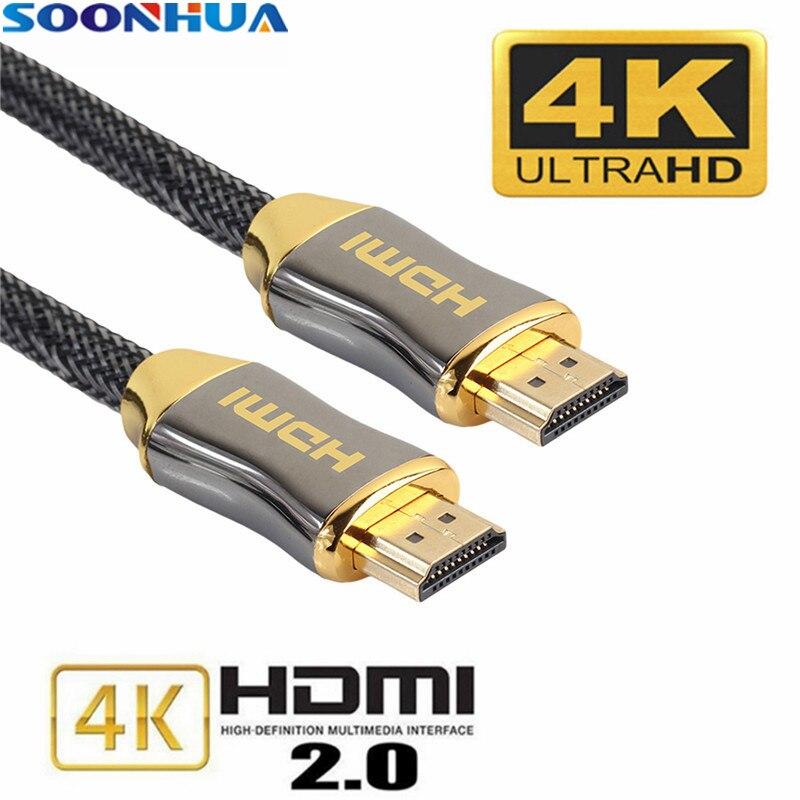 SOONHUA Qualidade Premium Trançado Cabos HDMI 4 K V2.0 Ultra HD Cabo Para HD TV LCD Portátil Projetor Computador 1 m 1.5 m 2 m 3 m 5 m 10 m