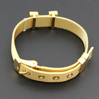 Fashion Wristband bracelet 316L Stainless Steel H Bracelet for women men Slide Charms & Letters fashion Jewelry with dustbag