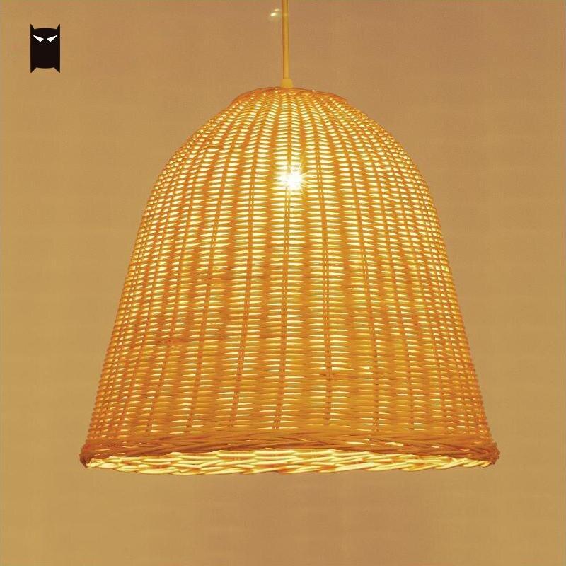 Tissage à la main en osier rotin panier ombre pendentif luminaire rustique asiatique suspendu plafonnier Restaurant Bar E27 E26 ampoule