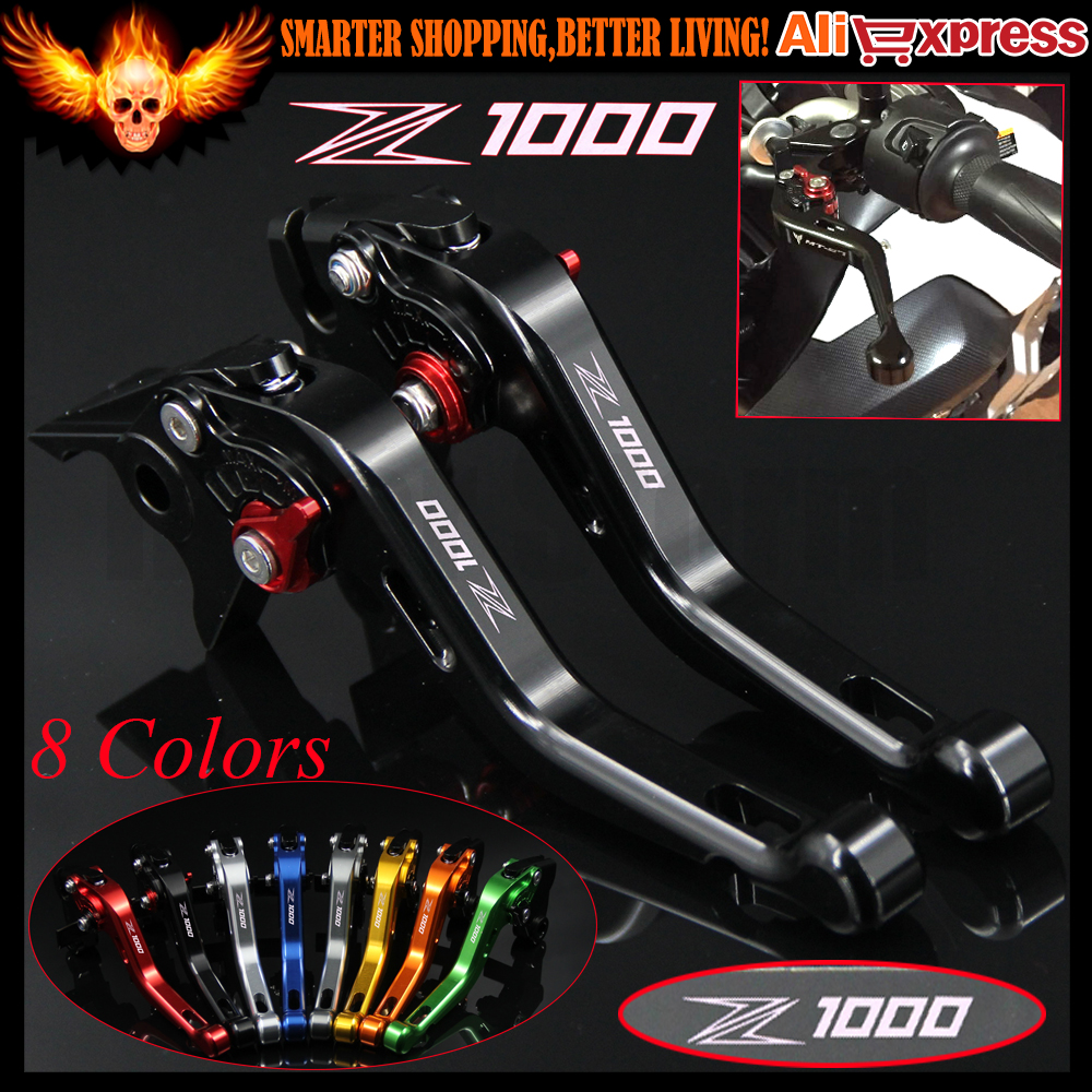 With Logo(Z1000) Black Motorcycle Short Brake Clutch Levers For Kawasaki Z1000 2007 2008 2009 2010 2011 2012 2013 2014 2015 2016 for kawasaki ninja 250 ninja250 2008 2015 ninja 300 ninja300 2013 2015 motorcycle aluminum short brake clutch levers black