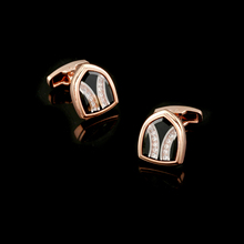 Qi Wu Luxury Glass Rose Gold Cufflinks for mens French Shirt Cuff links Button Wedding Gifts Men Jewellery Fathers Gift