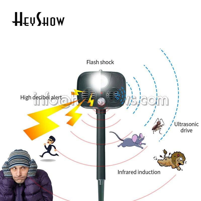 Outdoor Ultrasonic Camping Solar Alarm Repeller Pest Mouse Sensor Garden Bird Cat Dog Fox Animal Drive Burglar Alarm System