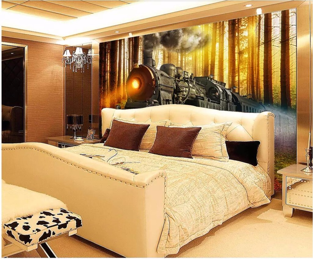 custom photo 3d wallpaper Fantasy forest train smoke living room ...