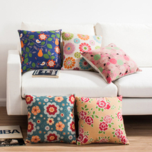 Floral Patterns Cotton Embroidery Sofa Cushion Cover Perfect Quality Home Decoration Housewarming Gift Car Throw Pillow Cover