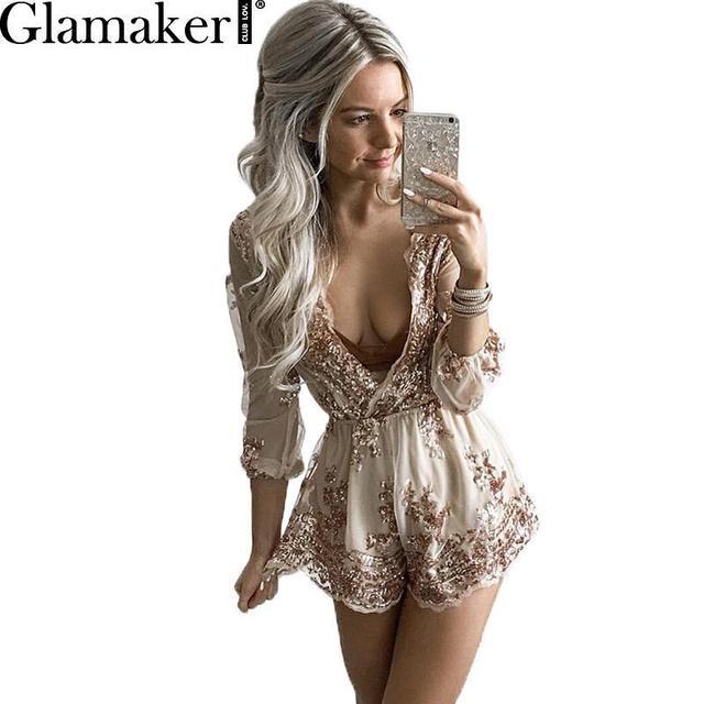 Glamaker Profunda pescoço v sexy paetês preto jumpsuit mulheres Borla cintura partido clube elegante jumpsuit romper playsuit Verão