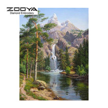 5d diy diamante pintura paisaje pintura de cristal de diamante punto de cruz cascada del bosque costura decorativa casera bj1098