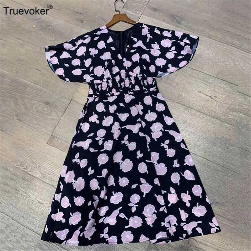 Truevoker, европейские Дизайнерские летние платья, женские с коротким рукавом, сексуальные, v-образный вырез, синий, цветочный принт, карман, миди, Резорт Vestidoes