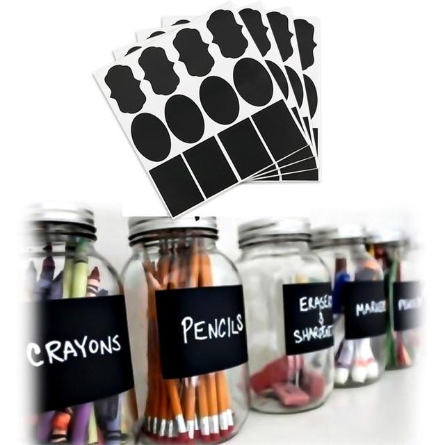 36pcs waterproof glass blackboard bottle stickers labels home