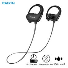 Ralyin M8 IPX7 Waterproof Bluetooth 5.0 Headphones Noise Cancelling Earphone HiFi Stereo Wireless Sports Earbuds with Mic pouch