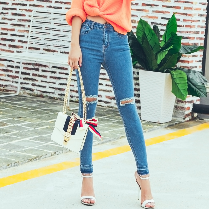 2016 High Waist Jeans Women Skinny Elastic  Pencil Pants Denim Ripped Boyfriend Jeans With Holes For Woman#XCD-X273 elastic skinny pencil jeans for women