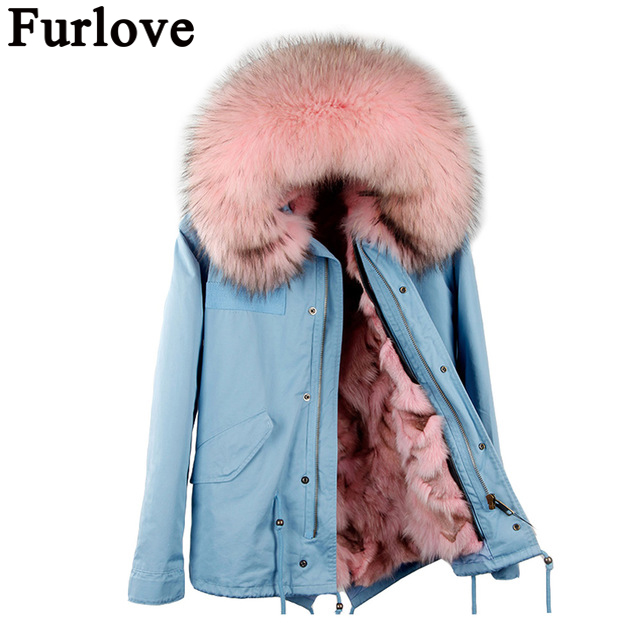 2017 New Women Real Fox fur Parka Winter Jacket Natural Fox Fur Lining Coat With Large Raccoon Fur Collar Coat Brand Style 2017 winter new clothes to overcome the coat of women in the long reed rabbit hair fur fur coat fox raccoon fur collar