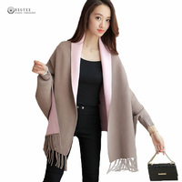 2017 Autumn Female Poncho New Loose Women Open Stitch Cardigan Cashmere Sweater Solid Full Sleeve Tassel