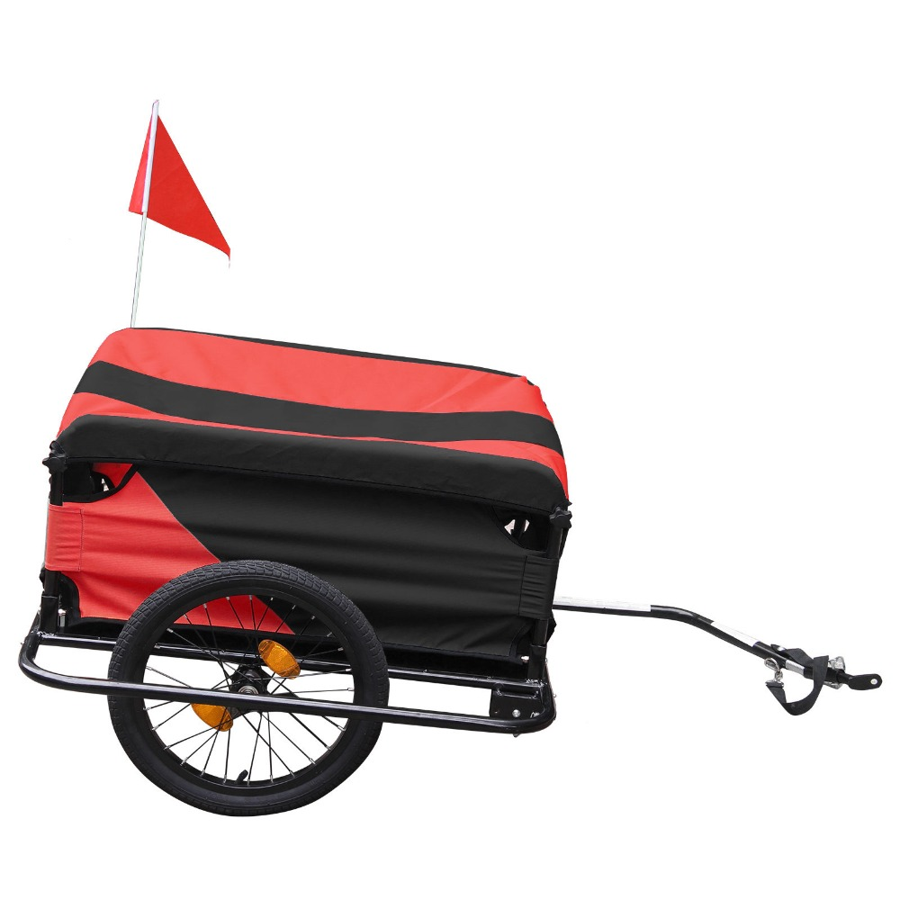 2018 High Quality Sturdy Lightweight Folding Bike Cargo Dog Pet Bicycle Cargo Trailer Metal Alloy Carries 40Kg Reflective Strip