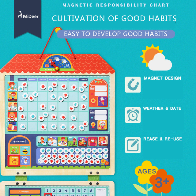 Mideer Children's wooden Magnetic responsibility chart habits record jigsaw puzzle early educational schedule toy cognitive toy