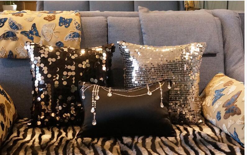 Modern Sequins Cushion Cover Bed Lumbar Pillowcase Glitters Waist Pillow Covers Home Decoration Black/silver/golden