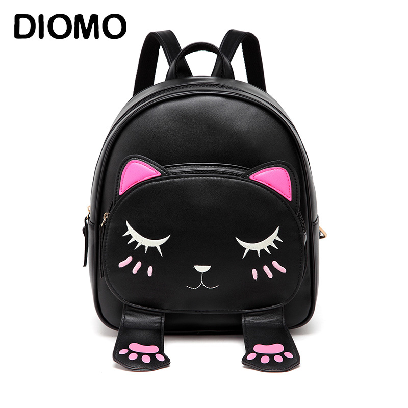 DIOMO Cute Cat Backpacks for Girls Female Bag Small Backpacks for Teenagers Cartoon Women Backpack Black Beige Bagpack sac a dos zooler women s backpack eyes sequined designer black cartoon eyes backpacks travel bag cute shell backpacks for teenager girls