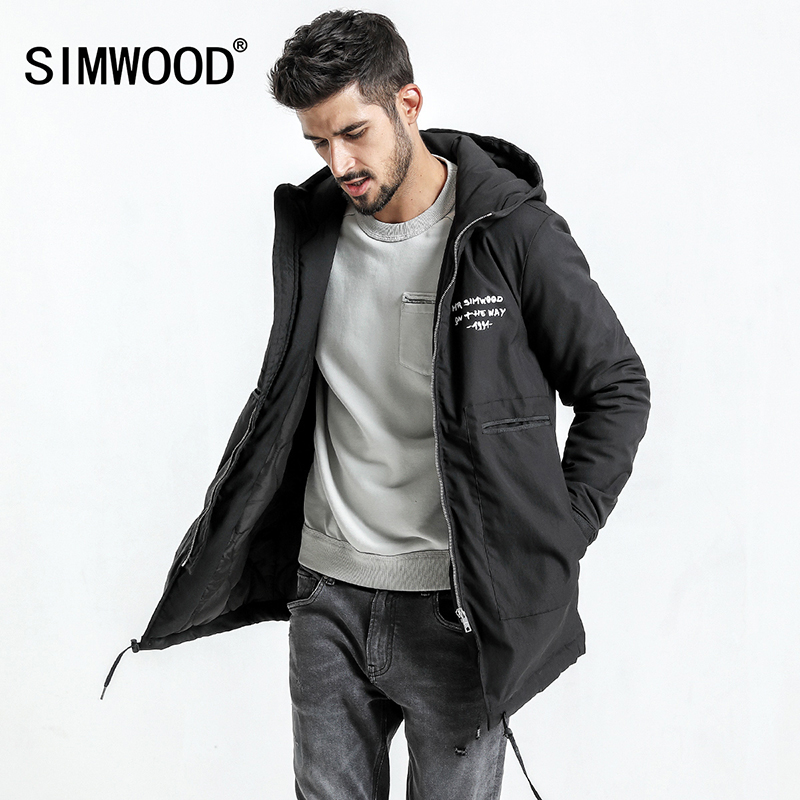 Simwood 2018 зимние пальто Для мужчин письмо Зимняя куртка Для мужчин карман Slim Fit Три четверти пальто парка Высокое качество, Большие размеры ...