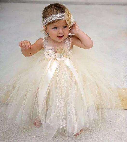 Champagne beaded lace newborn baby flower girls dresses Infant Girls Birthday Gown 02 champagne