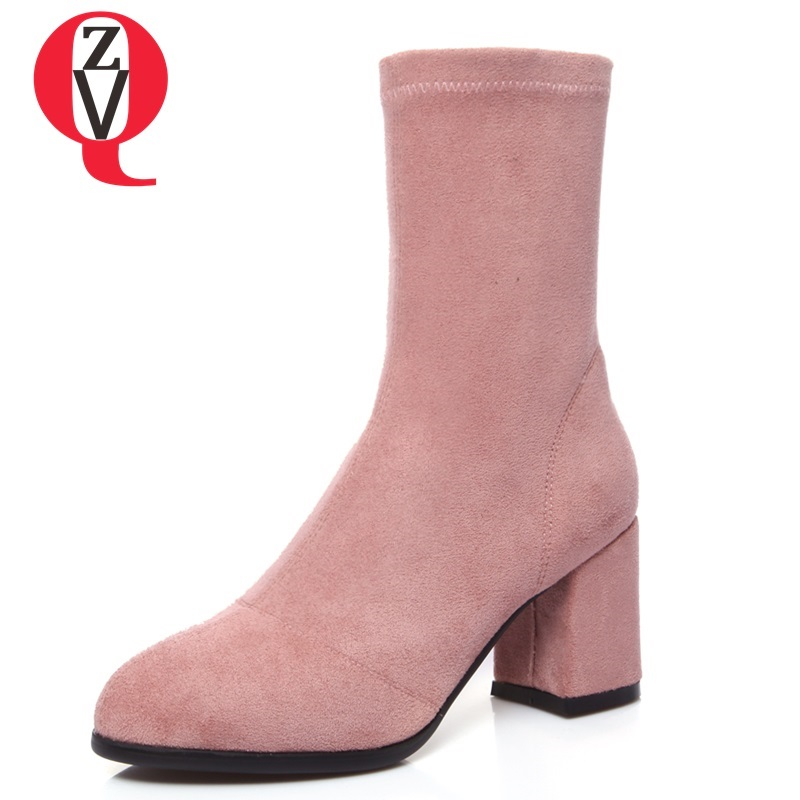 ZVQ 2018 newest leather velvet side zipper with round head large size mid calf boots heel height 7 cm three colors women shoes 7 11 cm