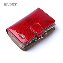 Fashion Real Patent Leather Women Short Wallets Small Wallet Coin Pocket Credit Card Wallet Female Purses Money Clip Gold color