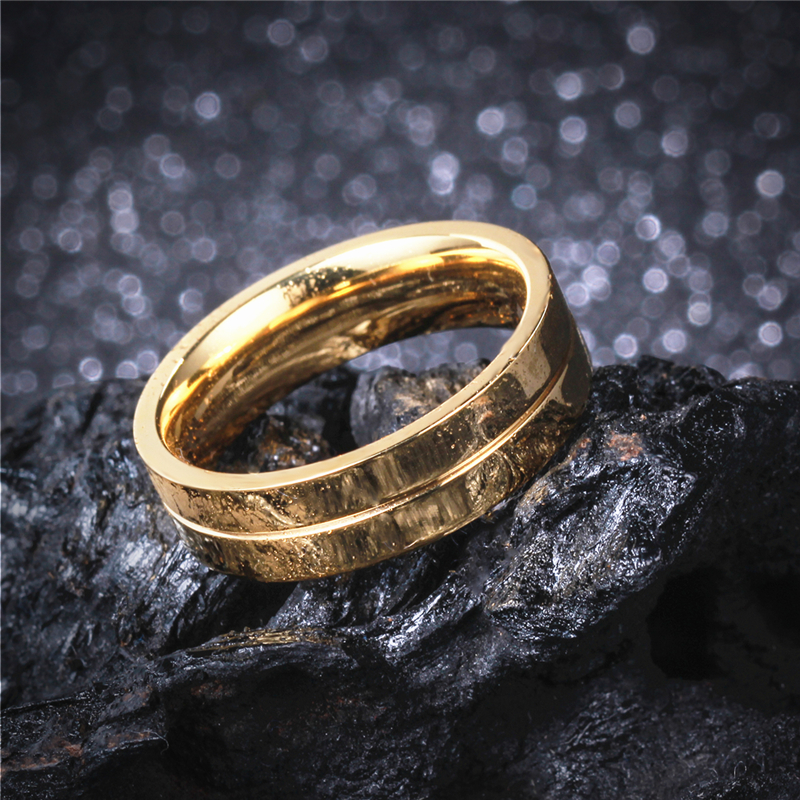 Soul Men 1 Pair Lovers Gold Color Engagement Ring with 9 CZ for Ladies 6mm Simple Wedding Ring Set for Male Alliance in Brasil