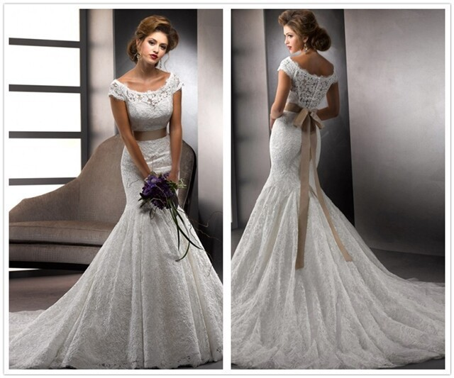 Exquisite Trumpet Mermaid Scoop Sash Ribbon Belt Lace Wedding Dresses With Champagne Belt Cap Sleeve Bridal Gown Flowy Sleeve Lace Corset Wedding Dress Lace Front Indian Remy Wigslace Up Front Dress Aliexpress