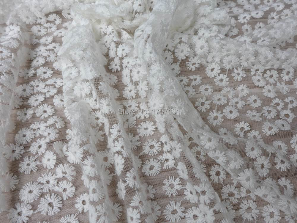Off white Lace Fabric, Beautiful Daisy Floral Fabric, Wedding Gown ...