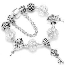 Boosbiy European Fashion Charm Bracelets For Women Kids Gift Crystal Heart Beads Brand Bracelets Pulseras Jewelry BBA230 mpb karolina fashion brand charm bracelets for women crystal