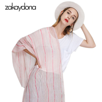 48f80259f62 Zakaydona 2018 Cotton Scarf Women Large Summer Pareo Beach Shawl Female  Desigual Long Striped Scarves For