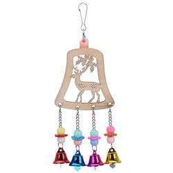 Рождественский олень колокола птицу попугай игрушки укусить восхождение игрушка, Игрушки для птиц с золотыми колокольчиками для попугаев