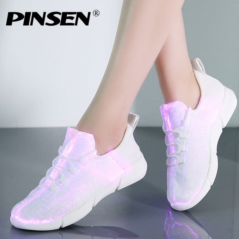 PINSEN 2018 Fashion Glowing Sneakers Women Summer Mesh Breathable Lace-up LED Shoes Woman Flats Luminous Shoes USB Charger