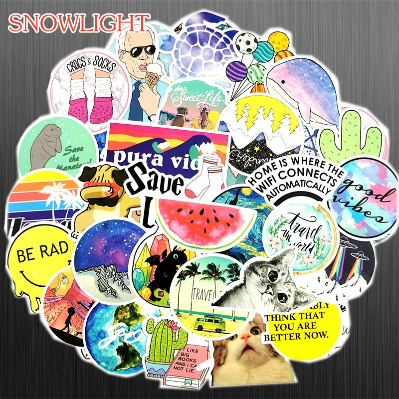50Pcs Lovely Cute Cartoon Travel Doodle Cartoon Stickers For Motorcycle Skateboards Laptop Luggage Sticker Bomb Decals