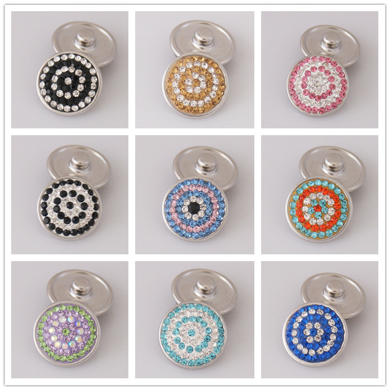 Fashion High Quality Colorful Circle Pattern Rhinestone 18MM Charm Snap Buttons For DIY Snap Jewelry Wholesale