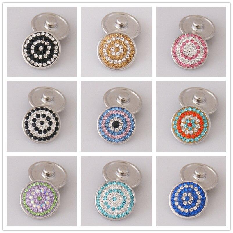 ⓪Moda de alta calidad colorido círculo patrón rhinestone 18mm ...