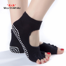 WorthWhile 1 Pair Women Yoga Socks Anti Slip for Lady Gym Fitness Sports Pilates Sock Professional Slippers Dance Protector