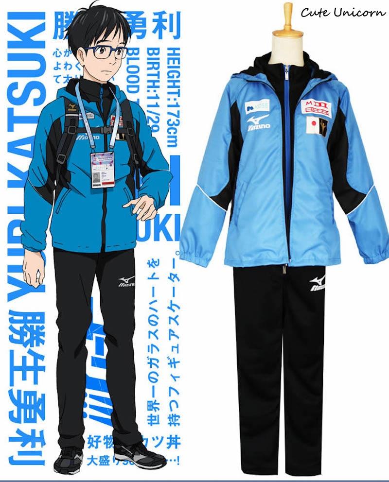 Anime Yuri on Ice Katsuki Yuri Skating Uniform Blue Jacket+Top+Pants full set Cosplay Costume boys Outfits mens Track Suits