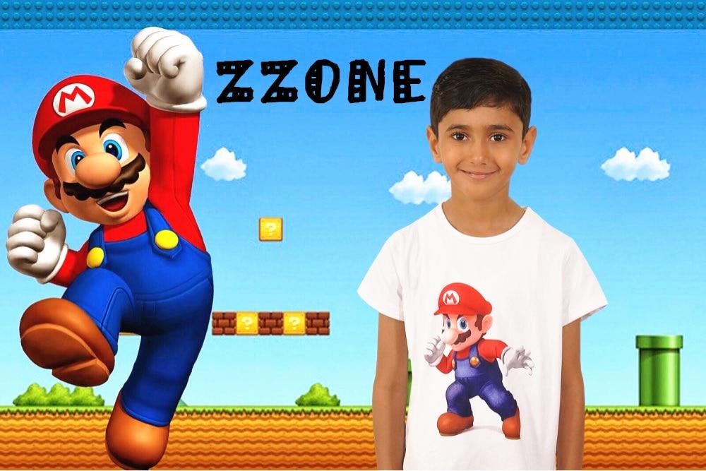 Uşaqlar və Qızlar Super Mario Bros Oyunu Cizgi filmi Moda T-shirt - Uşaq geyimləri - Fotoqrafiya 5