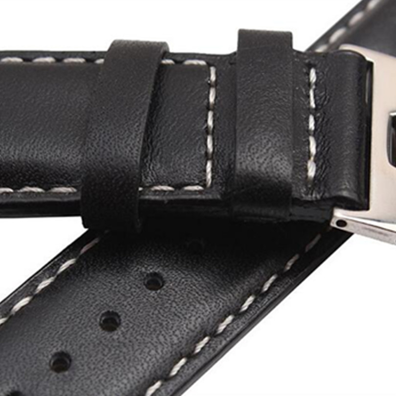 Black 20 mm Genuine Leather Watch Band Strap Watche Band Strap Belt Watchband Folding Clasp Buckle For Breitling Pam in Watchbands from Watches