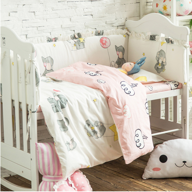 купить Multi Size 9pcs Cute Elephant Baby Bedding Set Cotton Crib Bedding for Newborns Baby Bed Include Cot Bumpers Sheet Pillow Quilt