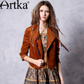Artka Women's Autumn New Solid Color Suede Jacket Vintage Turn-down Collar Long Sleeve Slim Fit All-match Short Coat WA10269Q