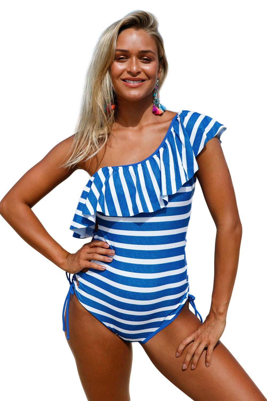 Stripes Ruffle One Piece Swimsuit Stylish Women Strappy Bathingsuit Beachwear Maillot Swimwear Jumpsuit